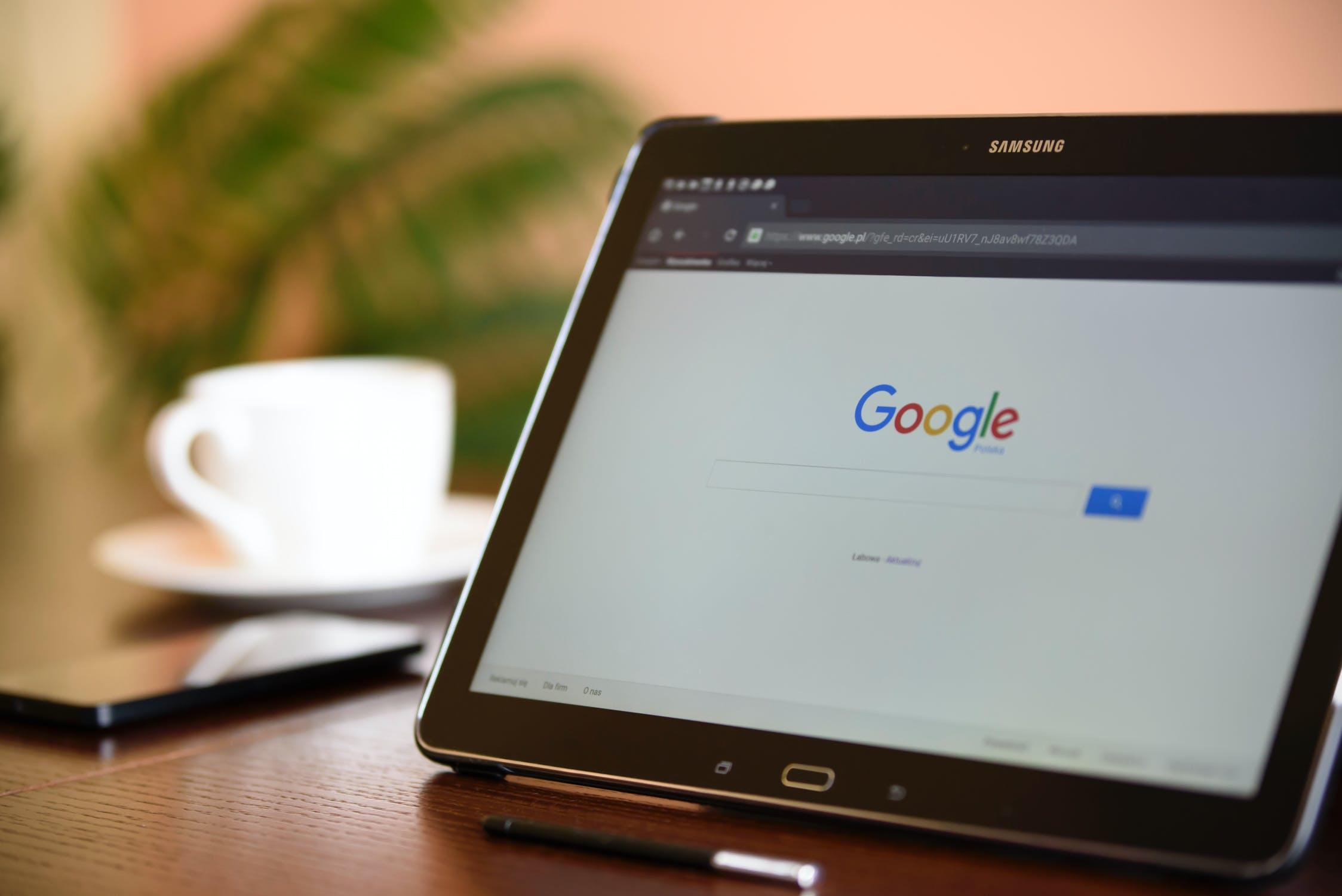 Google logo on a tablet