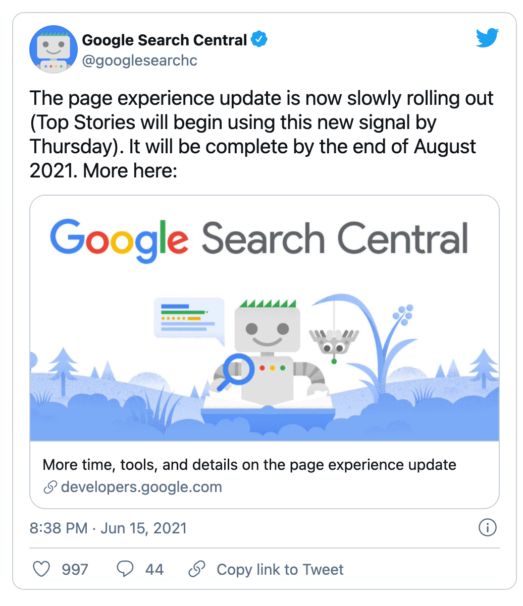 Google announcing Google page experience update rolling out