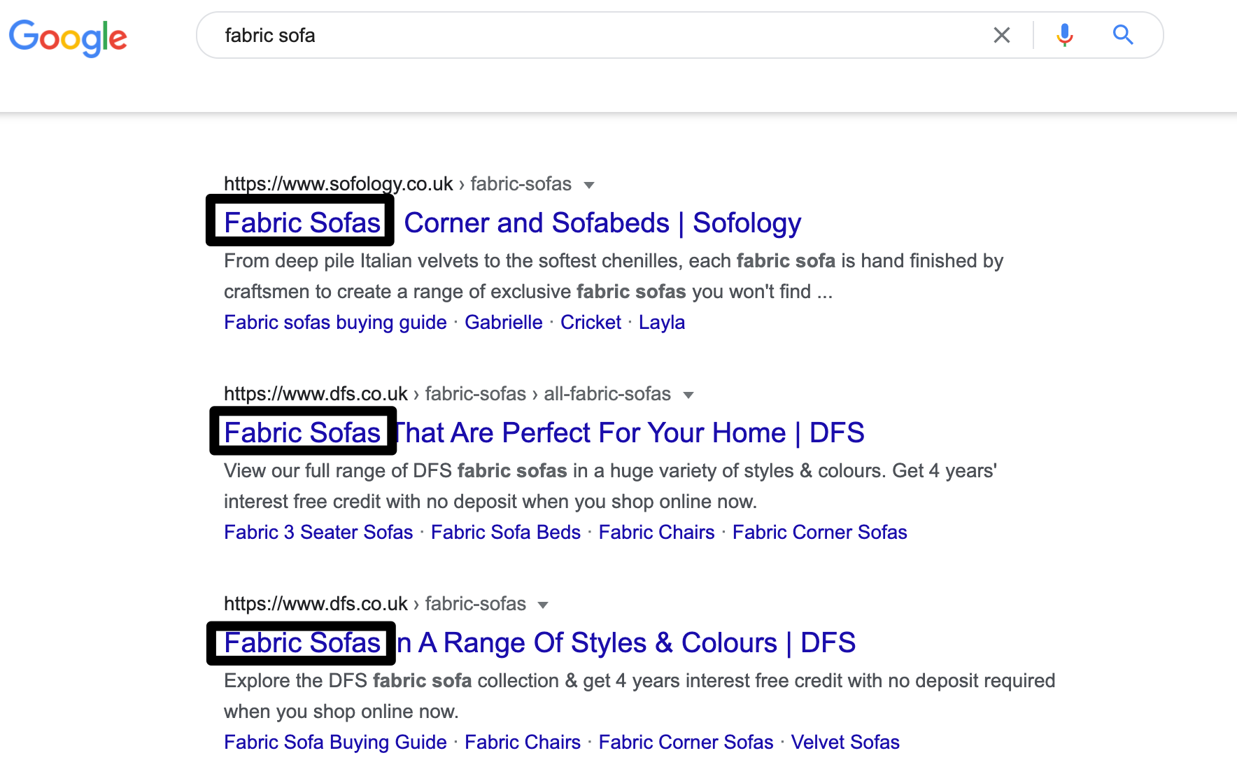 Image showing keyword use at the beginning of a title tag in Google search