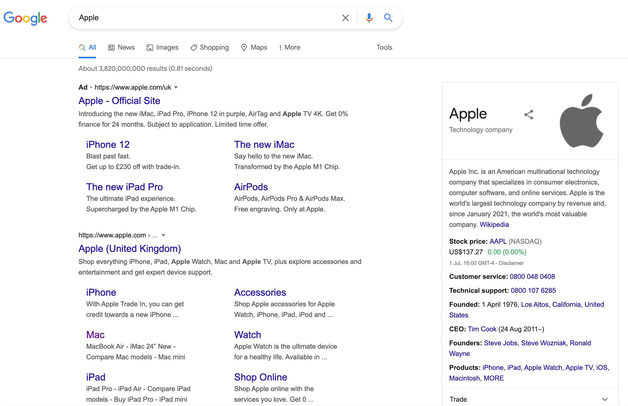 Example of a navigational search intent query on Google