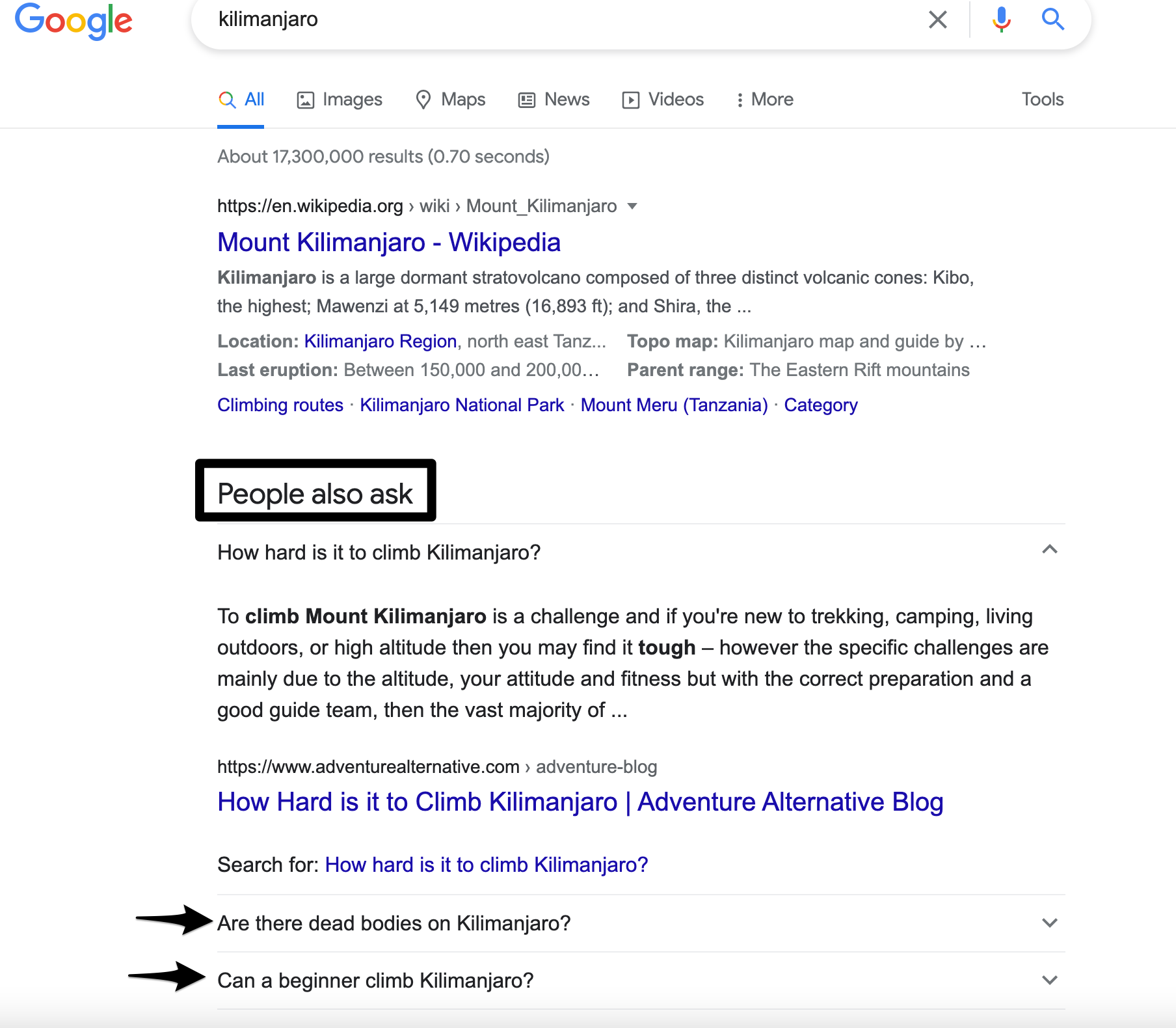 example of analysing search intent in Google search results