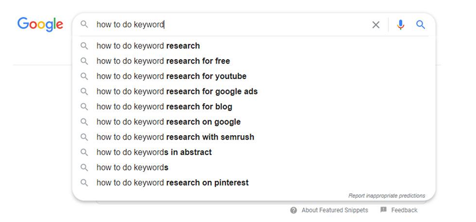 Example of conversational keywords