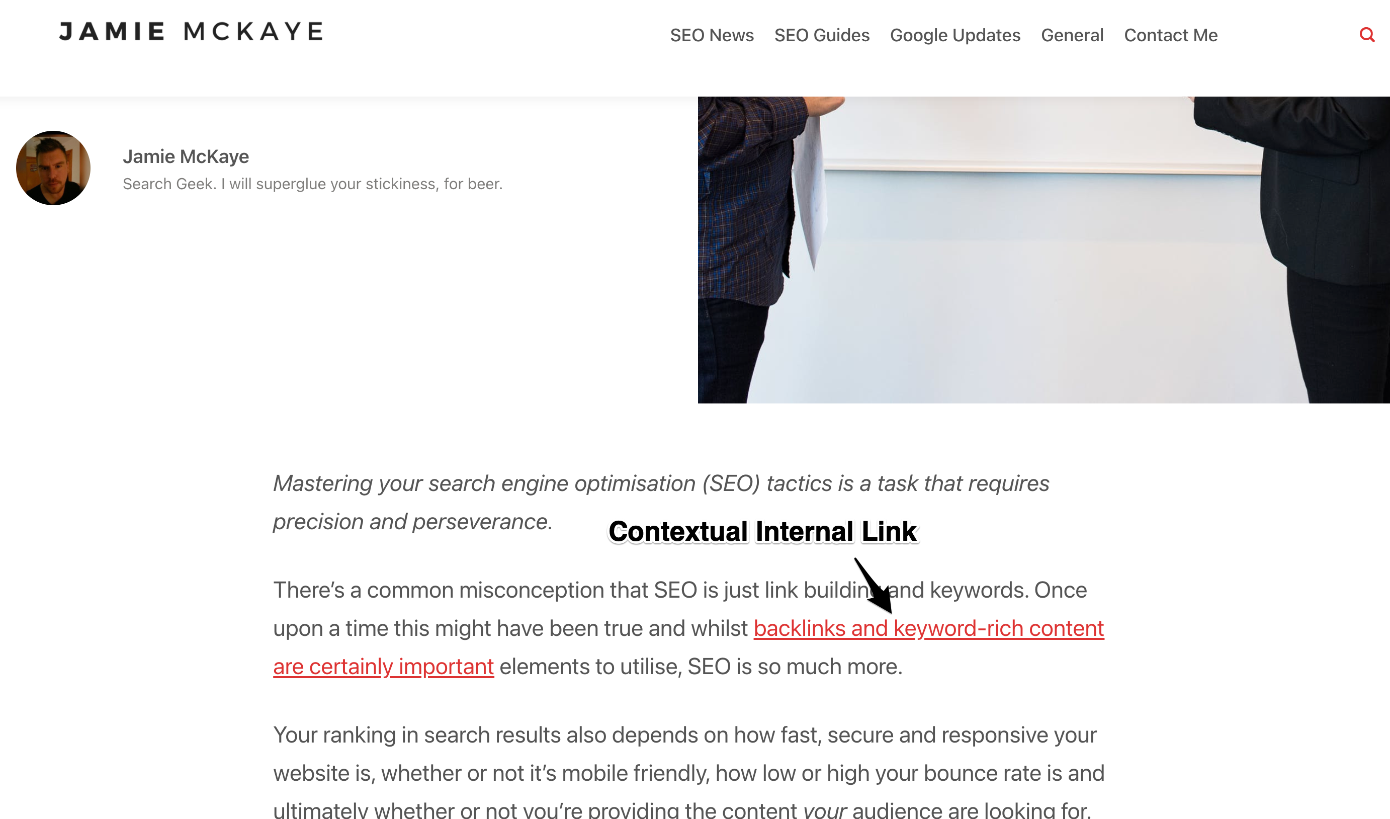 Example of a contextual internal link on a web page