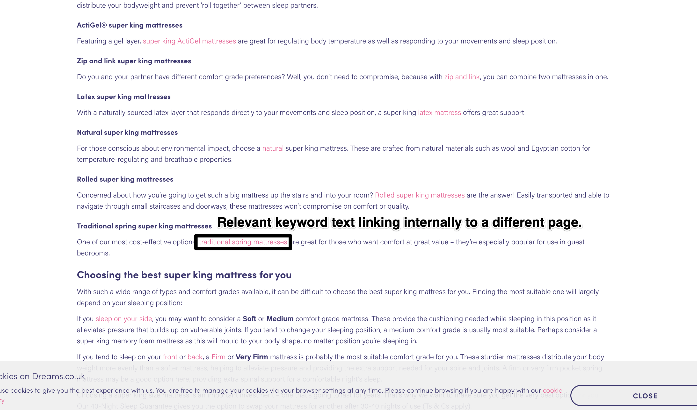 image showing relevant anchor text within an internal link on a web page