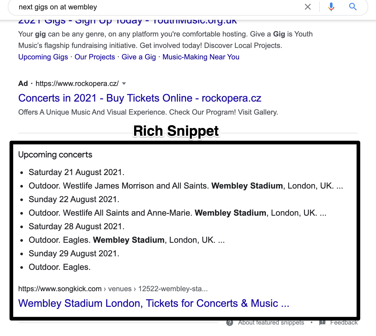 Image showing schema markup rich snippets in Google search results