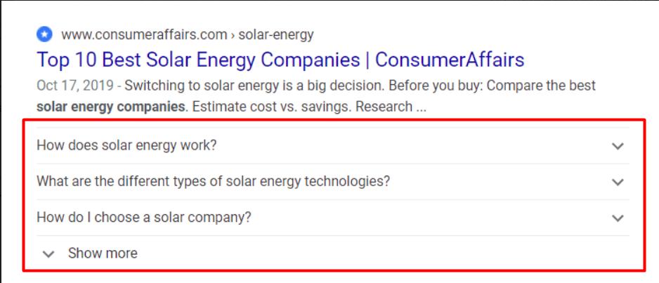 Schema drop down shown on a Google search