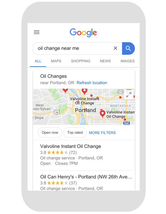 near me search on google mobile